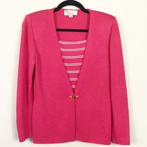 St John Collection Pink Cardigan Size 2 Dickey